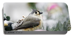Tufted Titmouse Portrait Portable Battery Charger by Christina Rollo