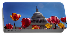 Tulips With A Government Building Portable Battery Charger by Panoramic Images