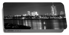 Tulsa In Black And White - University Tower View Portable Battery Charger by Gregory Ballos