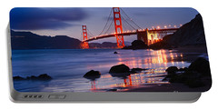 Twilight - Beautiful Sunset View Of The Golden Gate Bridge From Marshalls Beach. Portable Battery Charger by Jamie Pham