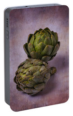 Two Artichokes Portable Battery Charger by Garry Gay