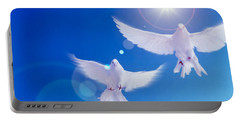 Two Doves Side By Side With Wings Portable Battery Charger by Panoramic Images