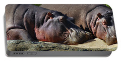 Two Hippos Sleeping On Riverbank Portable Battery Charger by Johan Swanepoel