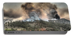 Portable Battery Charger featuring the photograph Two Smoke Columns White Draw Fire by Bill Gabbert