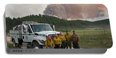 Portable Battery Charger featuring the photograph Umpqua Engine 25 On Myrtle Fire by Bill Gabbert
