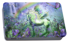 Unicorn Of The Butterflies Portable Battery Charger by Carol Cavalaris