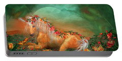 Unicorn Of The Roses Portable Battery Charger by Carol Cavalaris