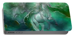 Unicorns Of The Sea Portable Battery Charger by Carol Cavalaris