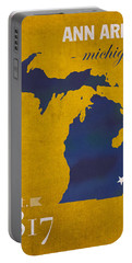 University Of Michigan Wolverines Ann Arbor College Town State Map Poster Series No 001 Portable Battery Charger by Design Turnpike