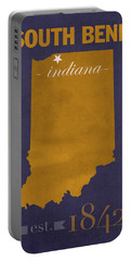 University Of Notre Dame Fighting Irish South Bend College Town State Map Poster Series No 081 Portable Battery Charger by Design Turnpike