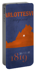 University Of Virginia Cavaliers Charlotteville College Town State Map Poster Series No 119 Portable Battery Charger by Design Turnpike