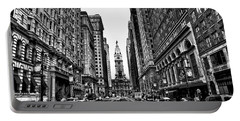 Urban Canyon - Philadelphia City Hall Portable Battery Charger by Bill Cannon