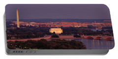 Usa, Washington Dc, Aerial, Night Portable Battery Charger by Panoramic Images