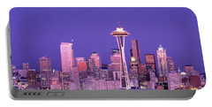 Usa, Washington, Seattle, Night Portable Battery Charger by Panoramic Images
