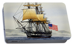 Uss Constitution Portable Battery Charger by James Williamson