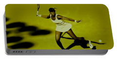 Venus Williams In Action Portable Battery Charger by Brian Reaves