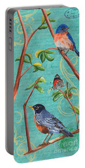 Verdigris Songbirds 1 Portable Battery Charger by Debbie DeWitt