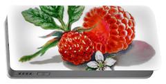 Artz Vitamins A Very Happy Raspberry Portable Battery Charger by Irina Sztukowski