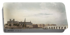 View Of Westminster And The Bridge Wc On Paper Portable Battery Charger by English School