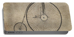 Vintage Penny-farthing Bicycle Illustration Portable Battery Charger by Dan Sproul