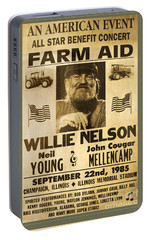 Vintage Willie Nelson 1985 Farm Aid Poster Portable Battery Charger by John Stephens