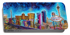 Viva Las Vegas A Fun And Funky Pop Art Painting Of The Vegas Skyline And Sign By Megan Duncanson Portable Battery Charger by Megan Duncanson