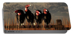 Vultures On A Fence Portable Battery Charger by Daniel Eskridge