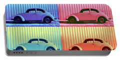 Vw Beetle Pop Art Quad Portable Battery Charger by Laura Fasulo
