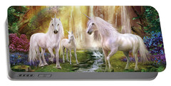 Waaterfall Glade Unicorns Portable Battery Charger by Jan Patrik Krasny