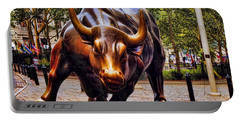 Wall Street Bull Portable Battery Charger by David Smith