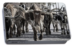 Watercolor Longhorns Portable Battery Charger by Joan Carroll