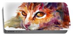 Watercolor Orange Tubby Cat Portable Battery Charger by Svetlana Novikova