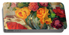 Watermelon And Roses Portable Battery Charger by Diane McClary