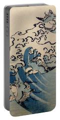 Waves And Birds Portable Battery Charger by Katsushika Hokusai