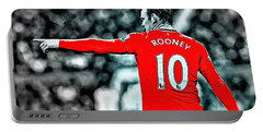 Wayne Rooney Poster Art Portable Battery Charger by Florian Rodarte
