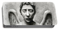 Weeping Angel Don't Blink Doctor Who Fan Art Portable Battery Charger by Olga Shvartsur