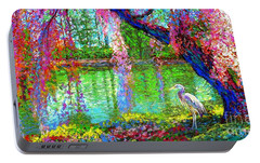 Weeping Beauty, Cherry Blossom Tree And Heron Portable Battery Charger by Jane Small