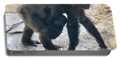 Western Lowland Gorilla With Baby Portable Battery Charger by Chris Flees