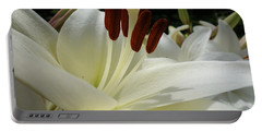 White Asiatic Lily Portable Battery Charger by Jacqueline Athmann