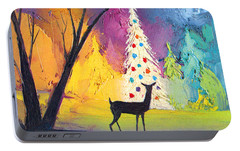 White Christmas Tree Portable Battery Charger by Munir Alawi