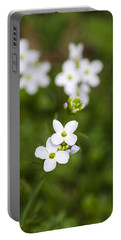 White Cuckoo Flowers Portable Battery Charger by Christina Rollo
