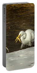 White Egret Snowy Bank Portable Battery Charger by Robert Frederick