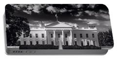 White House Sunrise B W Portable Battery Charger by Steve Gadomski