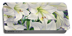 White Lilies Portable Battery Charger by Christopher Ryland