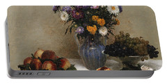 White Roses And Chrysanthemums Portable Battery Charger by Ignace Henri Jean Fantin-Latour