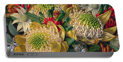 White Waratahs Flannel Flowers And Kangaroo Paws Portable Battery Charger by Fiona Craig