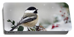 Winter Chickadee Portable Battery Charger by Christina Rollo