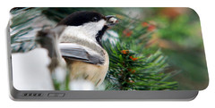 Winter Chickadee With Seed Portable Battery Charger by Christina Rollo