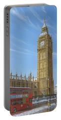 Winter Morning Big Ben Elizabeth Tower London Portable Battery Charger by Richard Harpum