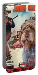 Wirehaired Pointing Griffon - Korthals Griffon Art Canvas Print - The Searchers Movie Poster Portable Battery Charger by Sandra Sij